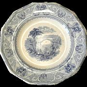 19th Century Staffordshire Pottery Lake Pattern Plate, Circa 1850