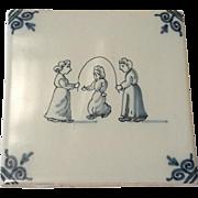 Vintage Signed Makkum Delft Glazed Pottery Tile