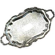 Large Vintage Silverplated Handled And Footed Serving Tray