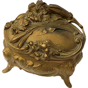 Antique Footed Gilt Metal Floral Jewel Casket