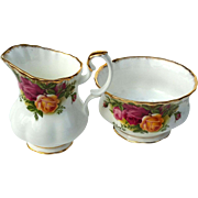 Vintage Royal Albert Old Country Roses Cream Pitcher And Sugar Bowl