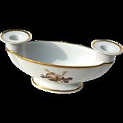 Early Vintage Signed Royal Copenhagen Brown Rose Candle Holder Bowl
