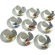 Early Vintage Set Of Nine Minton Porcelain Demitasse Floral Cups And Saucers