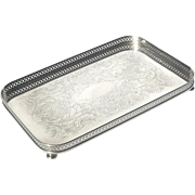 Small Vintage Sheffield Silver Plated Footed Gallery Tray