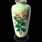 Large Vintage Japanese Floral Cloisonne Vase