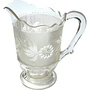19th Century Early American Pattern Glass Triple Mold Dahlia Pattern Pitcher