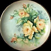 Antique Artist Signed Porcelain Rose Plate