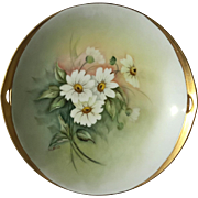 Antique Artist Signed Porcelain Daisy Floral Serving Plate
