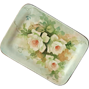 Antique Artist Signed Porcelain Rose Tray Plate