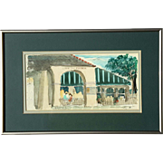 Vintage Signed New Orleans Watercolor Of The Cafe Du Monde