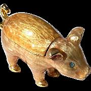 Vintage Signed Monet Enameled And Jeweled Pig Pill Or Trinket Box