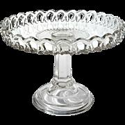 19th Century Early American Pattern Glass Pierced Rim Pedistal Cake Stand