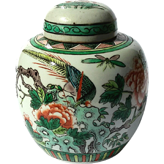 19th Century Chinese Famille Verte Ginger Jar With Cover