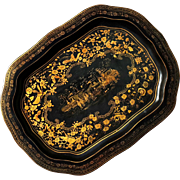 Chinoiserie Decorated Black Lacquer Tray