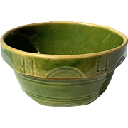 Early Vintage Green Glazed Yelloware Bowl