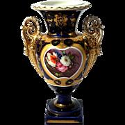 19th Century Old Paris Porcelain Handled Floral Vase