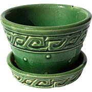 Vintage Signed McCoy Green Glazed Greek Key Planter