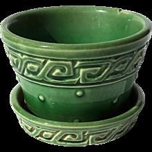 Vintage Signed McCoy Green Glazed Greek Key Planter