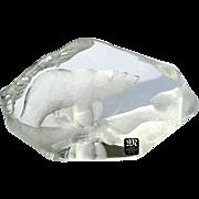 Signed Vintage Mats Jonasson Crystal Polar Bear Sculpture
