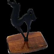 Vintage Mid-Century Cast Iron Horse Figure On Wooden Base