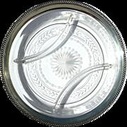 Vintage Sterling Silver Rimmed Etched Crystal Serving Dish