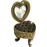 Jeweled And Enameled Metal Trinket Box Heart Frame