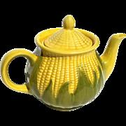 Vintage Signed Shawnee Pottery Corn Teapot