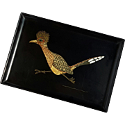 Vintage Couroc Of Monterey Roadrunner Tray