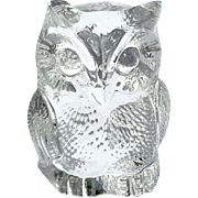 Vintage Signed Val St. Lambert French Crystal Owl