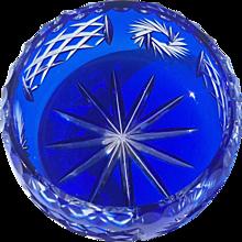 Bohemian Cobalt Cut To Clear Crystal Bowl