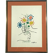 Vintage Signed And Dated Picasso Lithograph Titled Mains Aux Fleurs