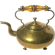 Antique English Brass Teapot With Glass Handle By James Clews