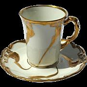 French Art Nouveau Jean Pouyat Limoges Porcelain Demitasse Cup & Saucer