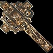 Vintage Ornate Gilt Metal Crucifix