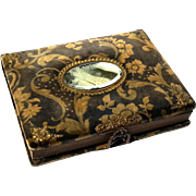 Victorian Velvet Photo Album With Beveled Mirror Medallion