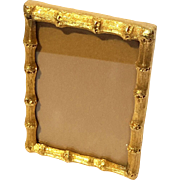 Vintage Italian Faux Bamboo Gilt Metal Picture Frame