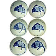 Set Of Six Large Vintage Chinese Blue And White Koi Fish Bowls