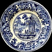 Small 19th Century English Staffordshire Blue Transferware Plate