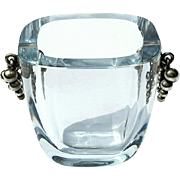 Danish Stromberg Crystal Vase With Sterling Silver Grapes
