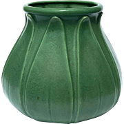 Large Mid-Century Vintage Matte Green Pottery Vase