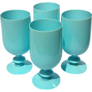 Set Of Four French Blue Opaline Stemmed Wine Glasses