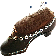 19th Century Beaded Leather Shoe Pin Cushion