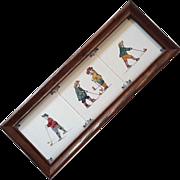 Vintage Framed Set Of Three Delft Golfer Tiles