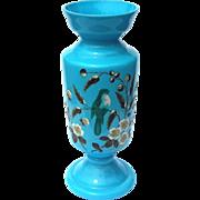 Large Victorian Bristol Glass Vase, Circa 1875