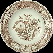 English Staffordshire Aesthetic Ironstone Transferware Plate, Circa 1875