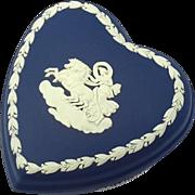 Vintage Wedgwood Dark Blue Jasperware Heart Shaped Box