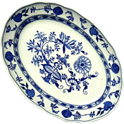 Large 19th Century Staffordshire Blue Onion Transferware Platter