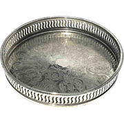 Vintage Small Round Silverplated Gallery Tray