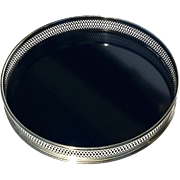 Mid-Century Vintage Italian Round Silverplated Gallery Tray With Black Formica Base