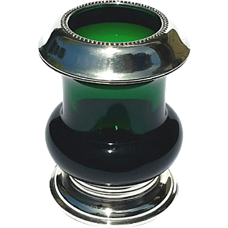 Vintage Signed Frank M Whiting & Co Sterling Silver And Emerald Glass Toothpick Holder